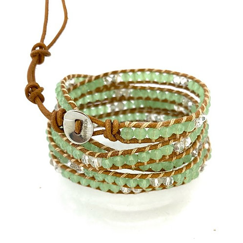 5 wrap bracelet / jade green on tan leather
