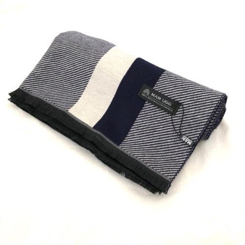 80% Merino Wool 20% Cashmere Scarf / Navy x Light grey