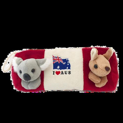 3D Koala and KangarooPencil Case / Red or Cream