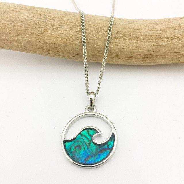 Marine Opal Paua Shell Circle Wave Pendant Mak3gifts