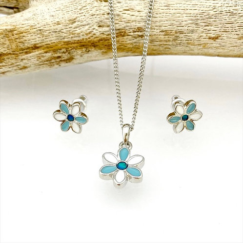 Marine Opal - Paua-Shell / Flower  Pendant and Earrings set / HFSET126
