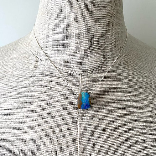 Boulder opal pendant with silver chain / M3B0146a