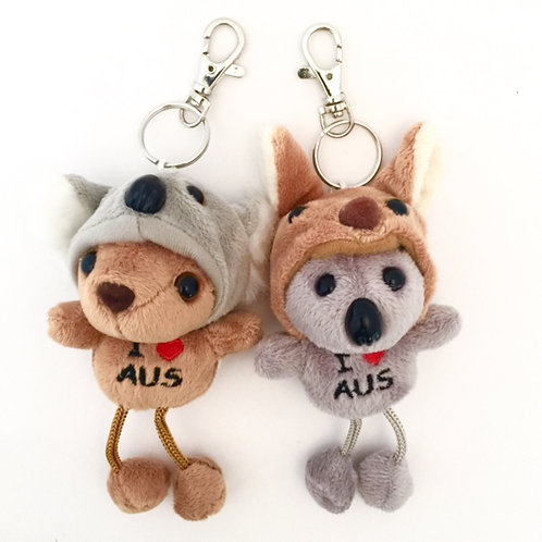 Koala in Kangaroo hat or Kangaroo in Koala Hat Keyring
