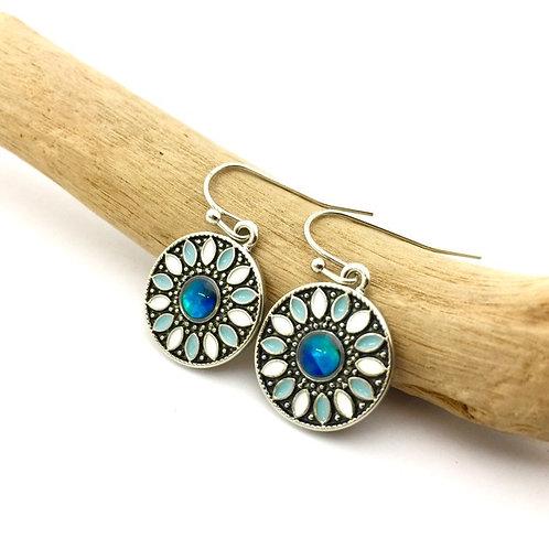 Marine Opal - Paua-Shell / Flower earrings / HFMOE136