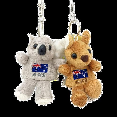 Set of Koala & Kangaroo Zipper backpack key rings