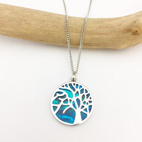 Marine Opal - Paua-Shell / Family Tree round pendant