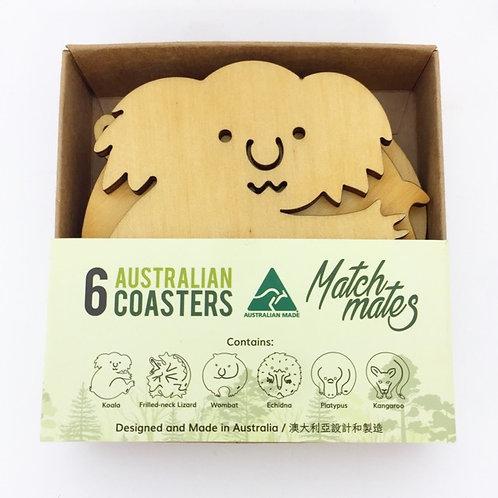 Australian Made / Set of 6 Australian Animal Wooden Coasters