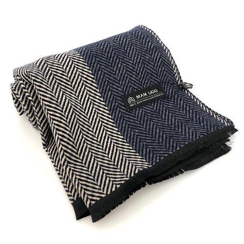 80% Merino Wool  20% Cashmere Scarf / Navy or Grey