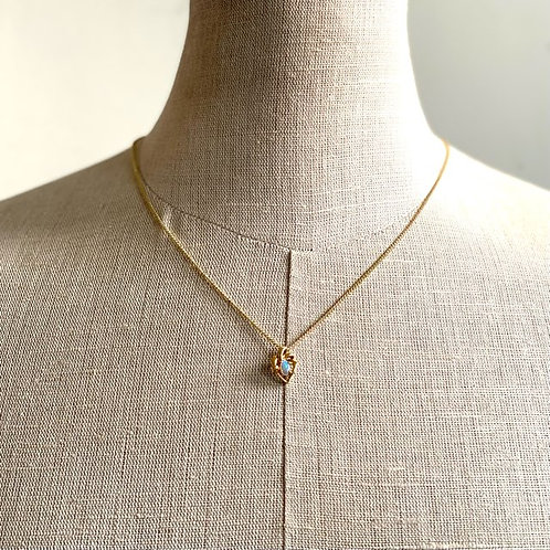White opal pendant set in 18k gold with gold plated chain / M3GP30