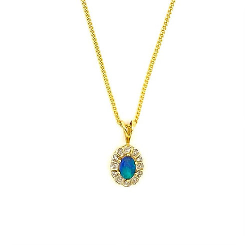 Black Opal and Diamonds Pendant  set in 18k gold