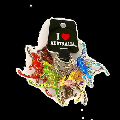 Colourful kangaroo keyring / set of 6