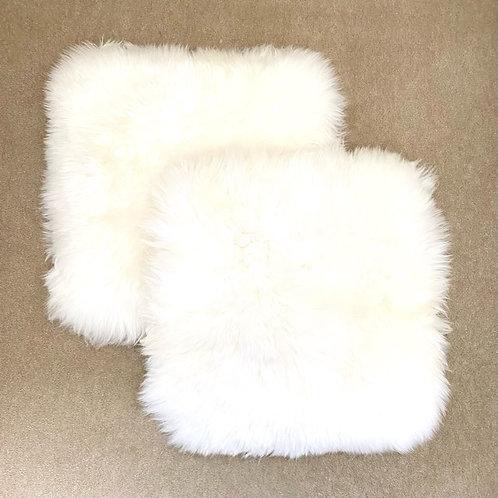 2 x Sheepskin square chair mat   40cm x 40cm   White