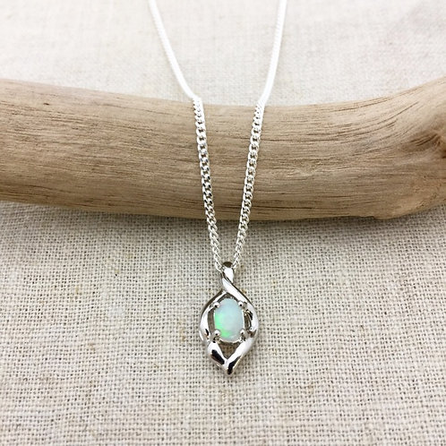 White Opal Pendant set in 925 sterling silver with 925 silver chain  / GP7S