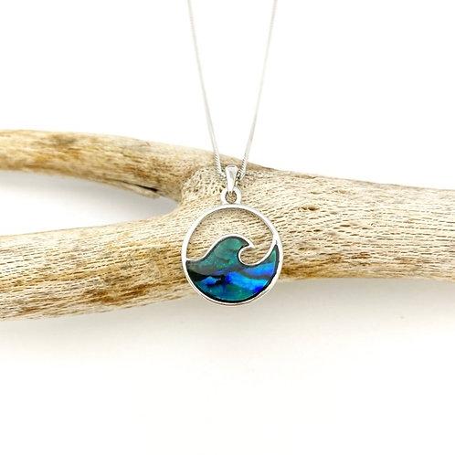 Marine Opal - Paua-Shell / Circle wave pendant
