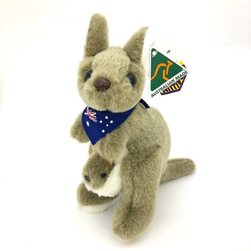 Australian Made / Kangaroo with joey and bandana soft toy ( M) 20cm