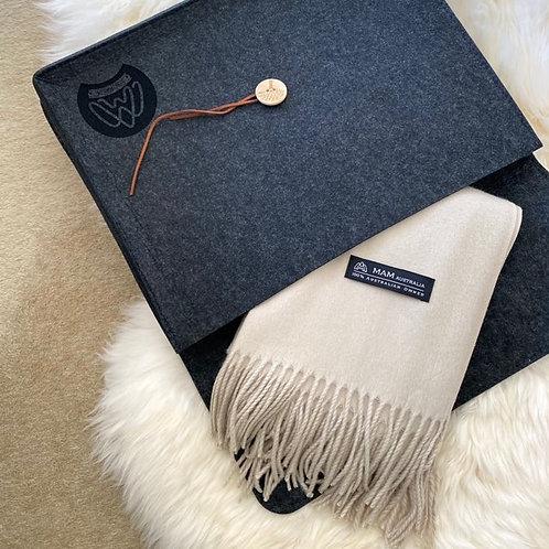 100% Australian Merino Wool Scarf / 65cm x 200cm