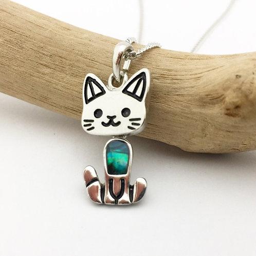 Marine Opal - Paua-Shell / Cat pendant