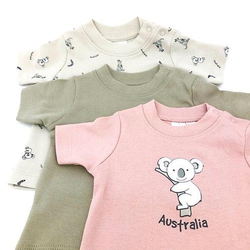 koala baby T-shirts /  Pink ・Grey ・Light grey