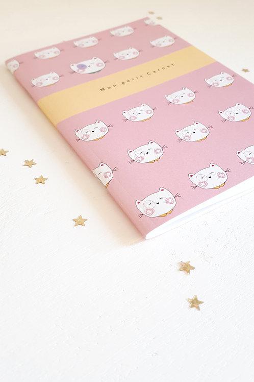27 Mon petit carnet chat fond rose