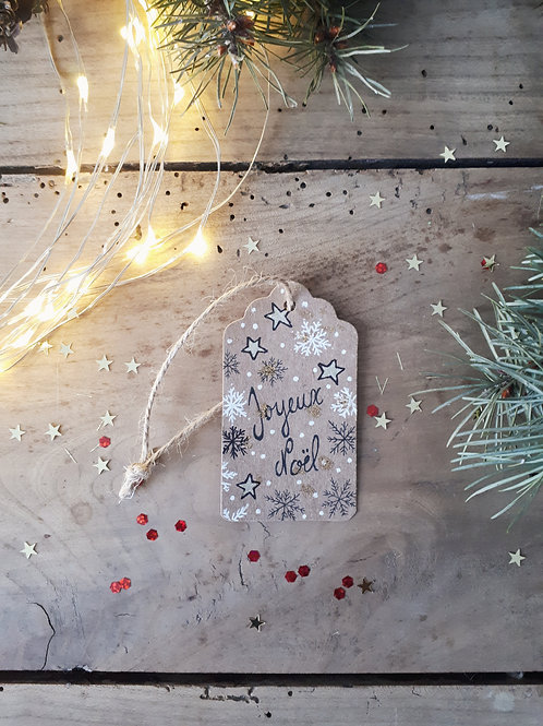 5 étiquette Joyeux Noël étoiles et flocons