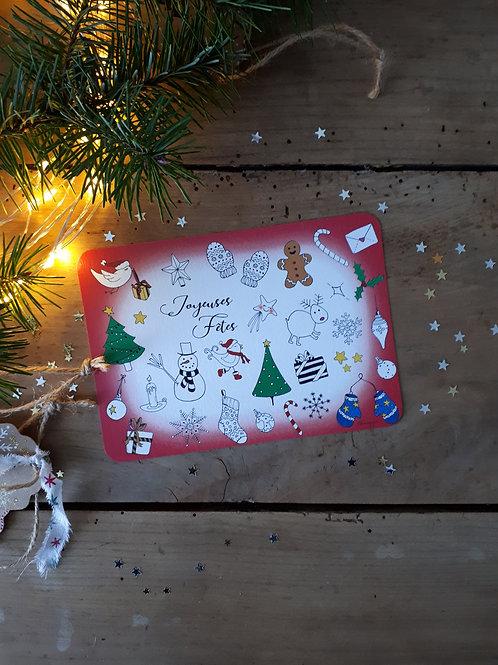 203 carte à colorier Noël bordure rouge
