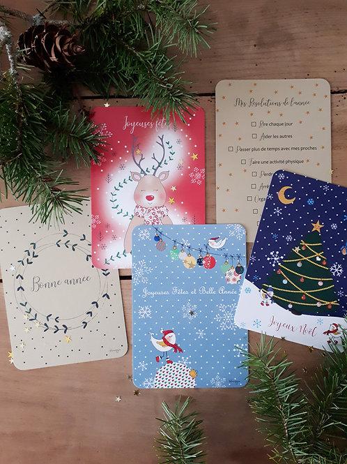 Ensemble de 5 cartes de Noël et 5 enveloppes