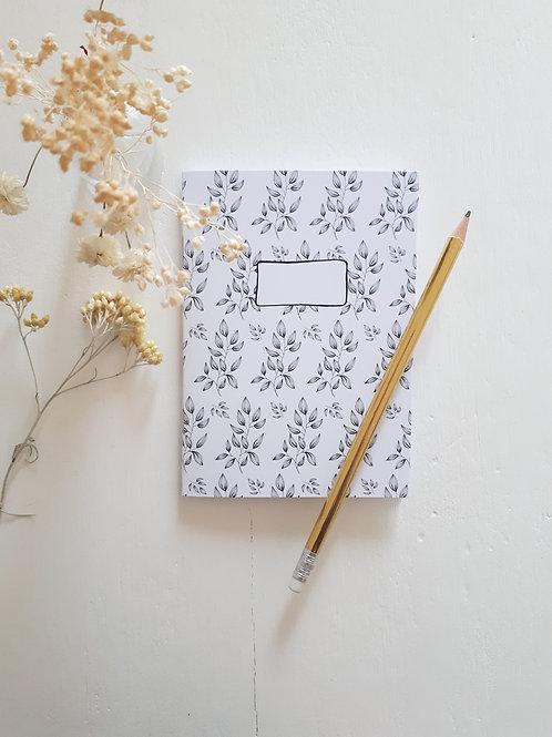 48 carnet impression branchages fond blanc