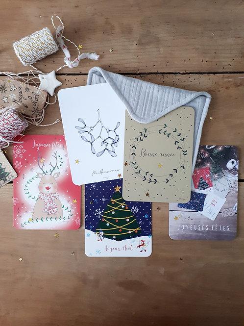 Ensemble 1 pochette+ 5 cartes de Noël + 5 enveloppes