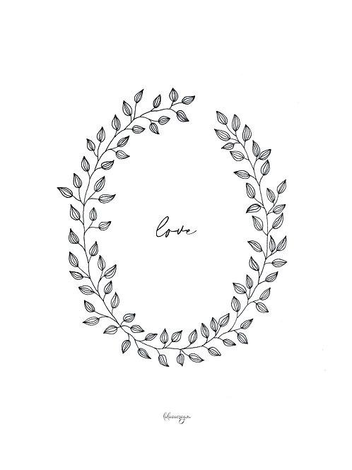 Affiche téléchargeable couronne de feuille LOVE