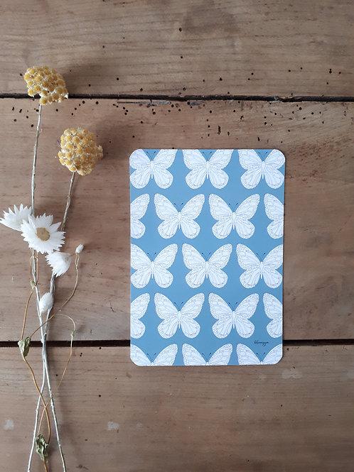 254 impression grands papillons fond gris bleu