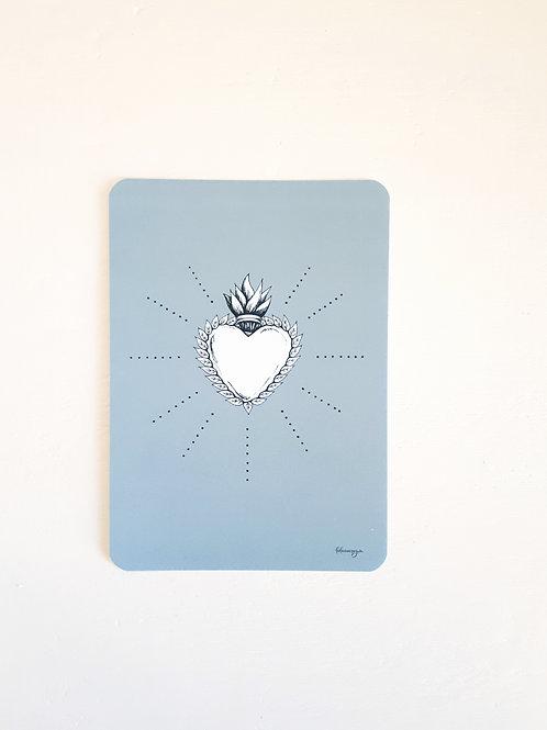 224 coeur sacré fond gris bleu