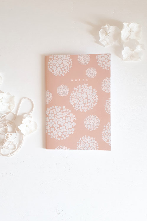 21 notebook hortensias fond rosé