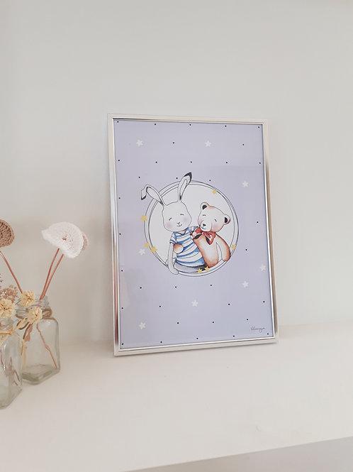 Affiche encadrée, lapin et ourson