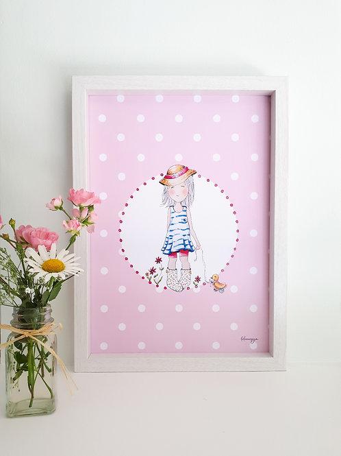 Affiche téléchargeable Petite fille et son canard 1
