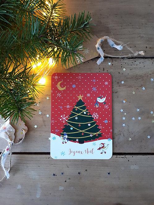71 Sapin de Noël fond rouge