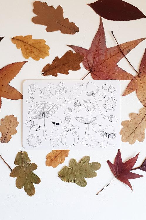207 carte à colorier Automne fond blanc