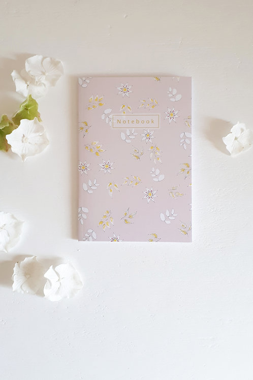 18 Notebook fleuris fond rose poudré
