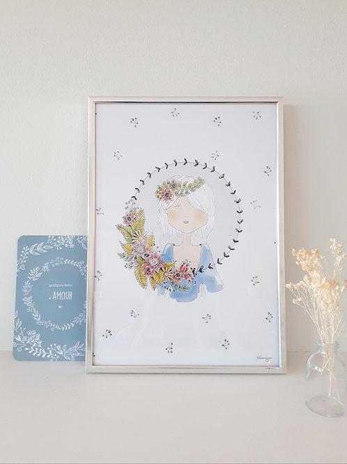 Affiche encadrée, couronne de fleurs
