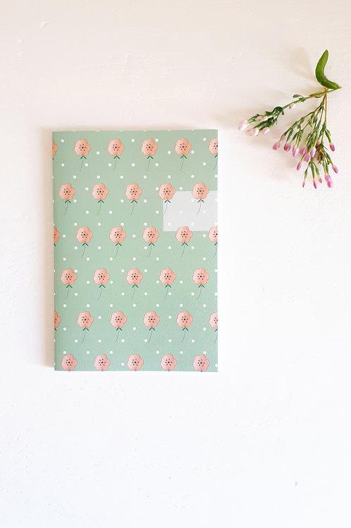 15 Notebook fleuri fond vert