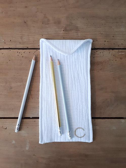 grande pochette à crayons coloris coloris blanc