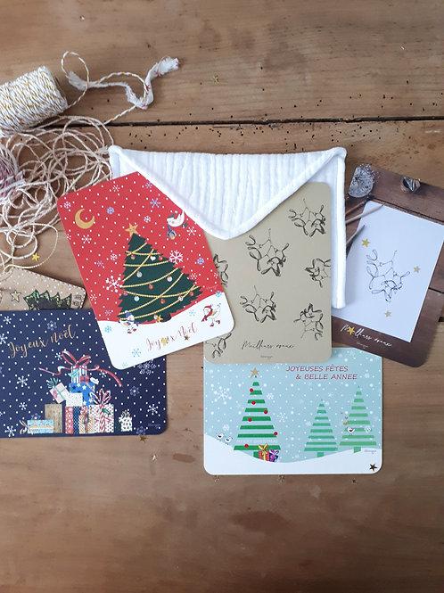 Ensemble 3  pochette+ 5 cartes de Noël + 5 enveloppes