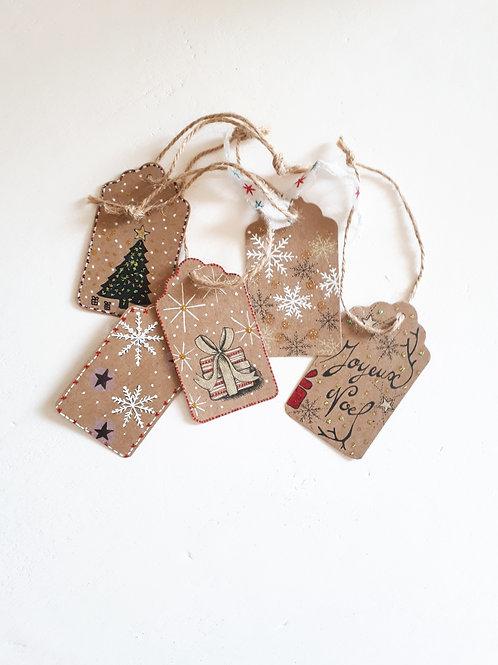 Lot de 5 étiquettes de Noël