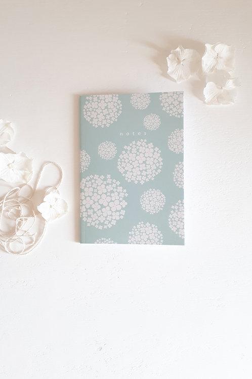 19 carnet de notes Hortensias fond vert d'eau