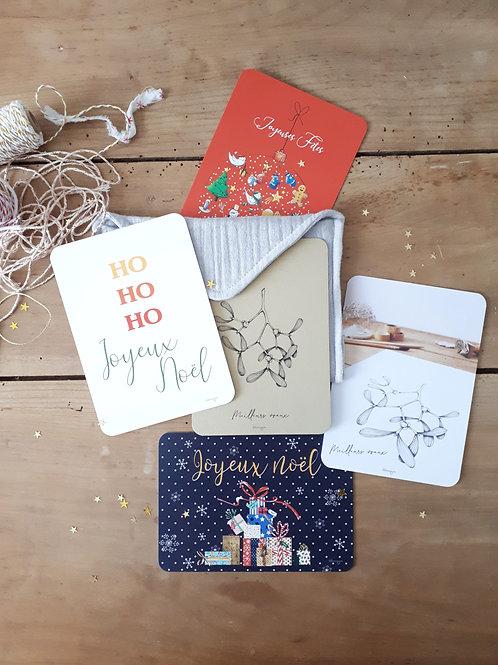 Ensemble 4  pochette+ 5 cartes de Noël + 5 enveloppes