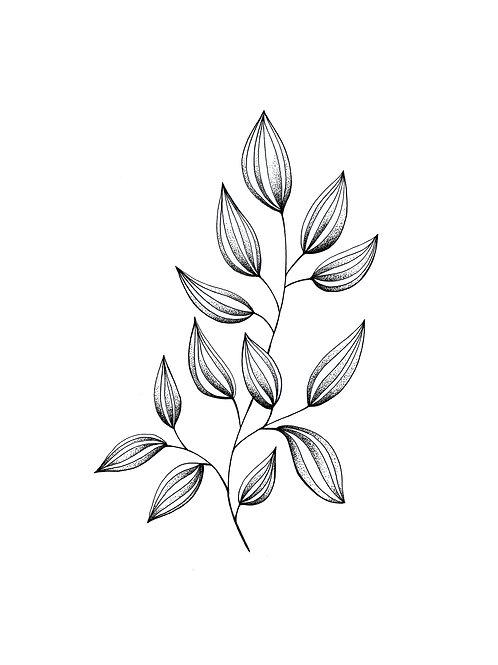 Affiche téléchargeable feuillage pointillisme
