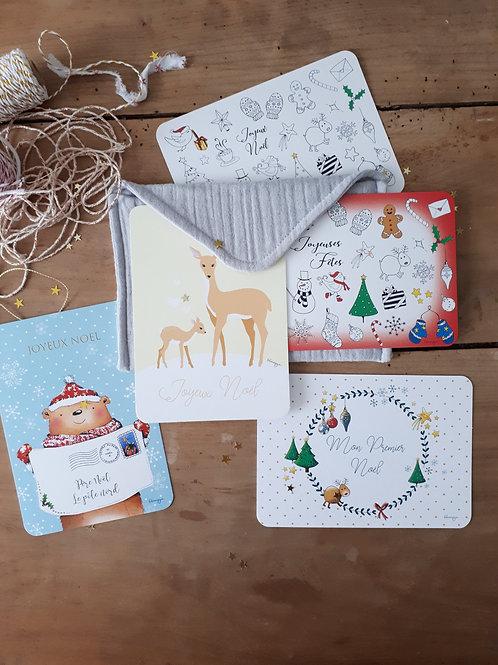 Ensemble 2  pochette+ 5 cartes de Noël + 5 enveloppes