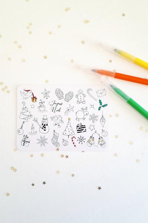 204 carte à colorier Noël fond blanc