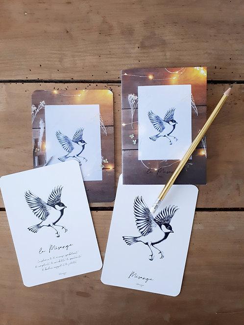 """Lot de 3 cartes et 1 carnet collection """"Mésange"""""""
