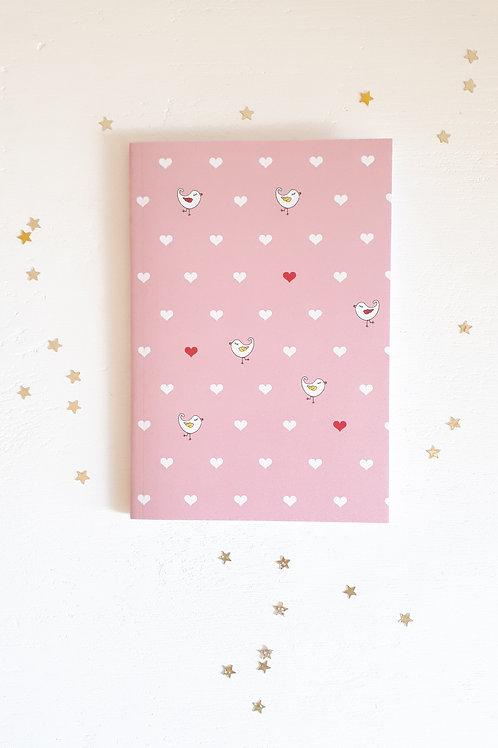 30 carnet oiseaux et cœurs fond rose