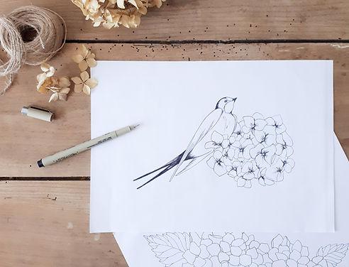 hirondelle et hortensias.jpg